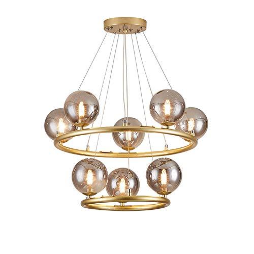 Grigio Fumo Glass Ball Lampadario Chiaro Caldo Doppio-Strato di LED d'oro Lampada da Soffitto Soggiorno Sala da Pranzo Studio Φ60cm Moderna semplicità Camera Luce Pendente
