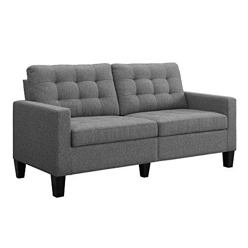 Dorel Living Emily Upholstered Sofa Couch Living Room Furniture, Gray
