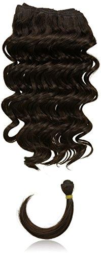 chear Français vague trame Extension de cheveux humains avec de mélange tissage, numéro 2, marron foncé, 35 cm
