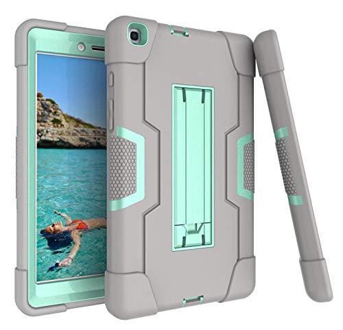 Galaxy Tab A 8.0 Case 2019, Bingcok Heavy Duty Rugged Full-Body Hybrid Shockproof Drop Protection Cover with Kickstand for Samsung Galaxy Tab A 8.0 2019 Model SM-T290 /SM- T295 (8-Grey+Aqua)