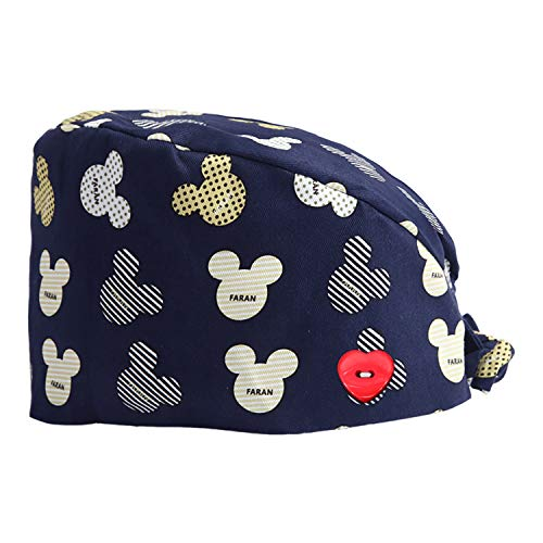 YIZEKE Multicolor Floral Print Worker Working Cap Button Sweatband Tie Back Skullies Hat