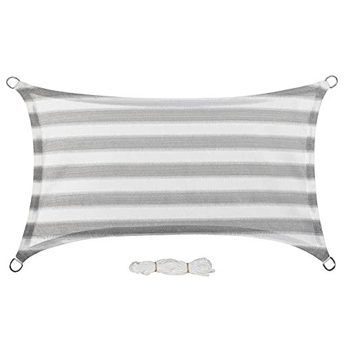 EUGAD Sonnensegel 2x3m Rechteckig Sonnenschutz Balkon Terrasse Schattenspender HDPE Wasserdurchlässig UV-Schutz Grau-Weiß gestreiften 0190ZYF