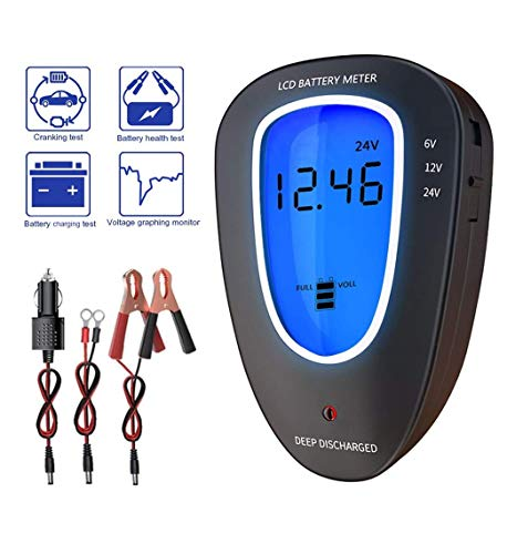 6V/12V/24V Automotive Car Battery Tester Voltmeter Charging System Analyzer Digital LCD Display Alternator Battery Load Tester Meter for Motorcycle Truck ATV SUV Boat Yacht Lead-Acid Batteries