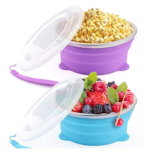 2 Pcs Portable Collapsible Bowl, Microwaveable, leak-proof, Food Grade Silicone, BPA Free, Foldable Travel Bowl Dish with Lid for Camping, Caravans, Outdoor Activities, Kitchen 800ml
