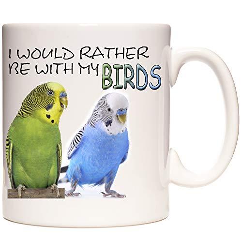 Tasse mit Wellensittich-Motiv, I would Rather Be with My Birds, Keramiktasse mit süßen Wellensittiche