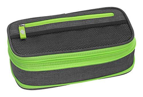 WEDO 24244011 Schlamperbox NEON Stretch, vergrößerbar, mehrere Fächer, Stiftschlaufen, inkl. Stundenplan, grau neon-grün