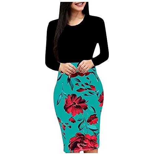 azrian Long Sleeve Knee Length Dress for Women Bodycon Floral Print Midi Dress Fall Winter High Waist Stitching Bag Hip Dress