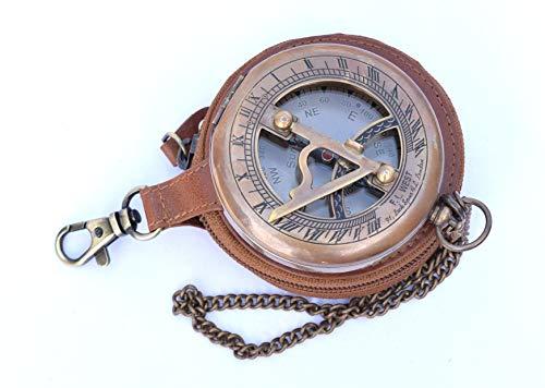 Neovid, Messing-Sonnenuhr-Kompass – Kompass zum Aufklappen – Steampunk-Zubehör – Antik-Finish – Sonnenuhr – schönes handgefertigtes Geschenk, Messing und Leder, braun, M