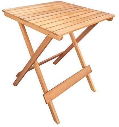 Mesa plegable de madera de teca de jardín cuadrado de muebles de jardín al aire libre de 60 x 60 cm,Natural color