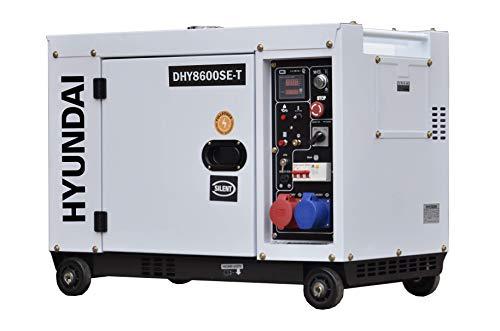 HYUNDAI Silent Diesel Generator, Stromerzeuger mit 7.9kVA (400V) / 6.0kW (230V), Notstromaggregat für Baustellen, Stromgenerator, Stromaggregat (DHY8600SEi-T mit 230V/400V Anschlüssen)