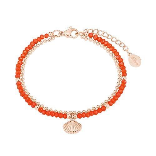 s.Oliver Damen-Armband Armkette Muschel Korallenrot/roségold 2027600