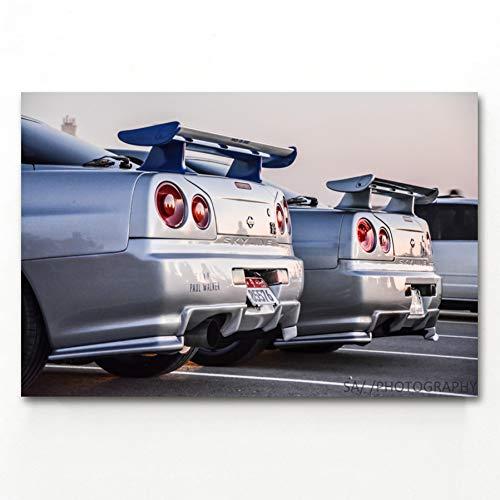 QAZEDC Decoratieve schilderijen GT R Sport Auto Achterlicht Wall Art Posters en Prints Canvas Art Schilderijen Voor Home Decor