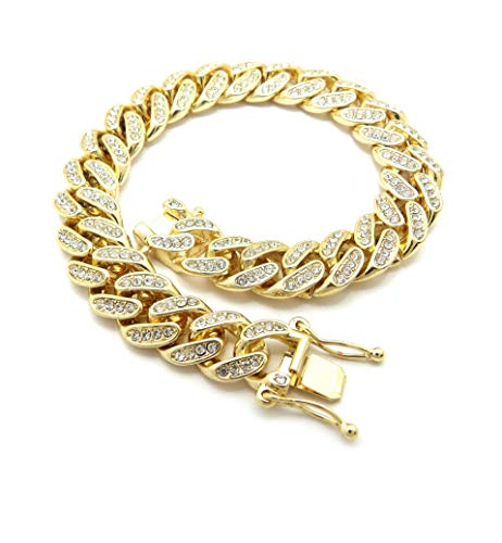 BLINGFACTORY Women Gold Plated 12mm 9.5' Box Lock Iced Bling Cuban Chain Anklet