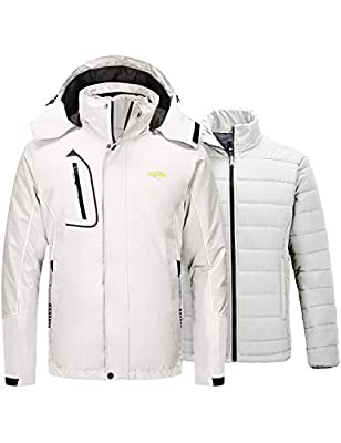 Wantdo Men's 3 in 1 Ski Jacket Waterproof Raincoat Snow Coat Off White Medium