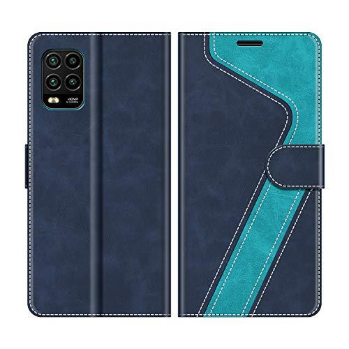 MOBESV Handyhülle für Xiaomi Mi 10 Lite Hülle Leder, Xiaomi Mi 10 Lite Klapphülle Handytasche Case für Xiaomi Mi 10 Lite Handy Hüllen, Modisch Blau