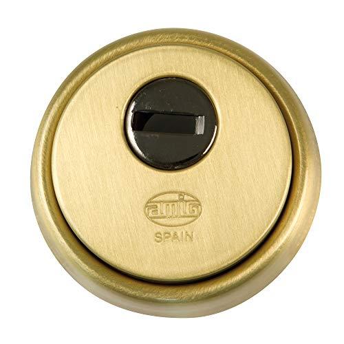 Amig 6360 - Escudo de seguridad para puerta Modelo 31 | Latón | Cuerpo reforzado en acero sinterizado | Antitaladro | Color latón - dorado | Bocallave de 65mm de diámetro