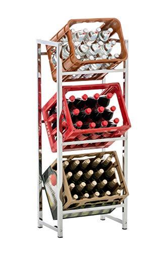 CLP Getränkekistenständer LENNERT I Platzsparender robuster Kistenständer für Getränkekisten I Verschiedene Ausführungen, Farbe:Chrom, Größe:M