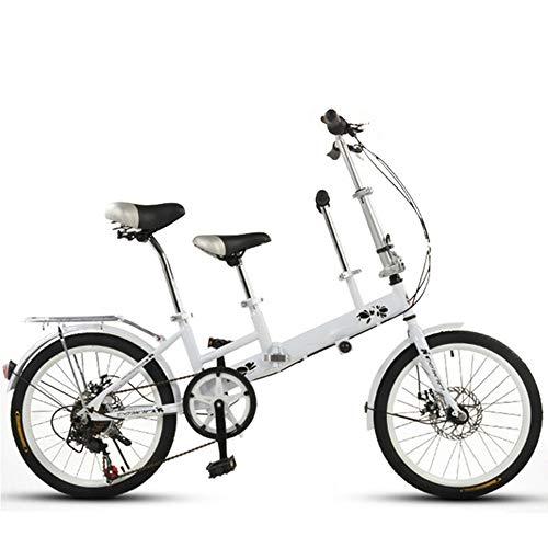 GWX Eltern Kind Fahrrad Tandem Fahrrad Mutter Kind Kinderfahrrad Mit Variabler Geschwindigkeit Scheibenbremse Klapprad Geeignet Für Reisen Mit Kindern,Weiß