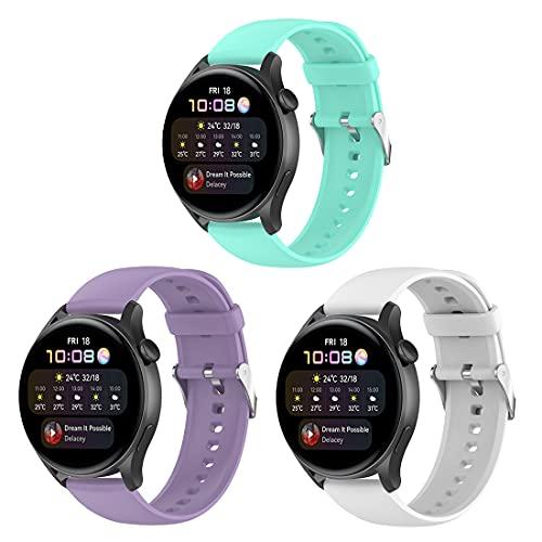 Bexido Correa de repuesto compatible con Huawei Watch 3, paquete de 3 accesorios de silicona suave para pulsera deportiva Huawei Watch 3/Huawei Watch 3 Pro/Huawei Watch GT2 Pro