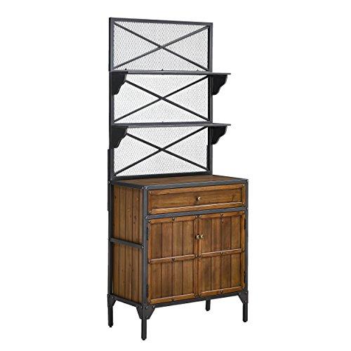 "Furniture HotSpot – Bakers Rack- Black w/Natural Pine – 27"" W x 14.5"" D x 65.25"" H"
