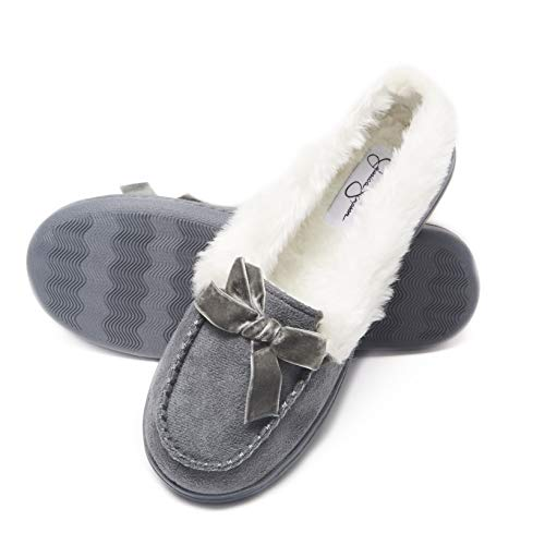 Jessica Simpson Womens Micro Suede Moccasin Indoor Outdoor Slipper Shoe (Size Large, Grey)