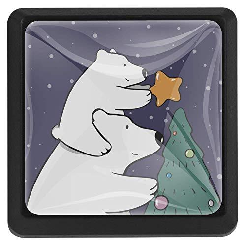 TIZORAX Schubladenknöpfe Eisbär Mutter und Baby dekorieren Weihnachtsbaum Küche Schrank Griff ziehen quadratisch 3 Packungen für Schrank Schrank Kommode Tür Home Decor
