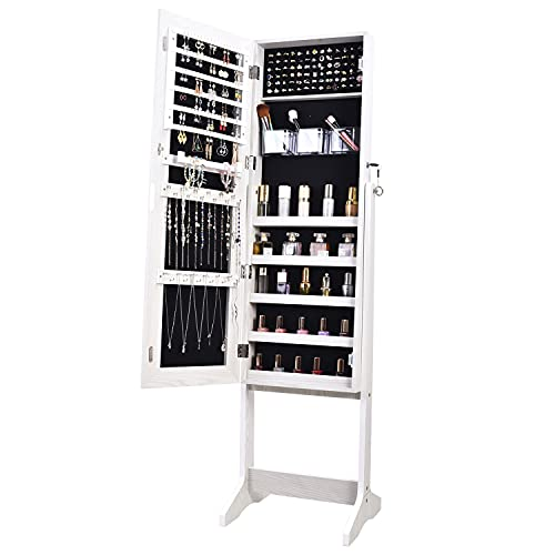 OUTDOOR DOIT Jewelry Organizer Jewelry Cabinet Jewelry armoire Standing Jewelry Box with Full Body Mirror and Large Storage Lockable Wooden Cabinet (White)…