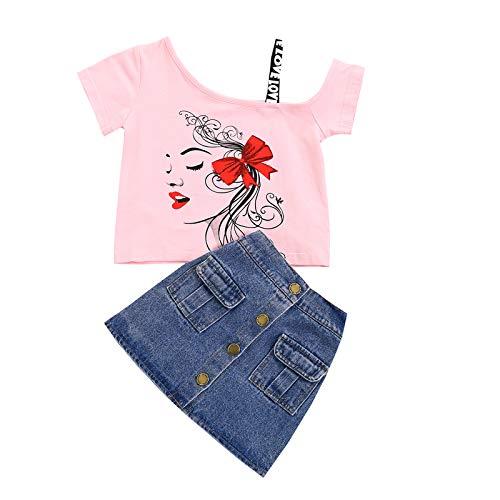 Carolilly Conjunto de ropa para bebé o niña, ropa de verano, 2 piezas, conjunto de ropa de verano Rosa C 5-6 Años