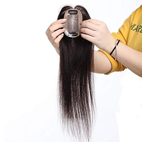 "Haarteil Topper Echthaar Clip in Extensions Pony Toupee Haarverlängerung 100% Remy Lace Front Closure Toupet Dunkelbraun#2 14""(35cm)"