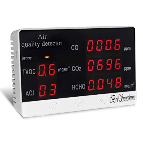 Luftqualität Monitor Messgerät Air Quality Detector, Kohlendioxid Tester für Innenräume CO2 CO HCHO AQI TVOC Portable Home Meter(mit Handbuch auf Deutsch)