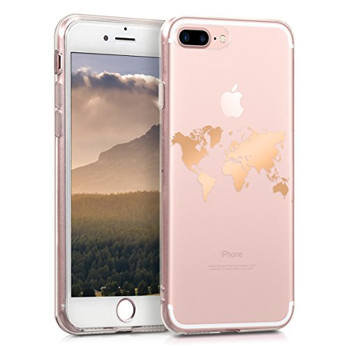kwmobile Funda Compatible con Apple iPhone 7 Plus / 8 Plus - Carcasa de TPU Mapa del Mundo en Oro Rosa/Transparente