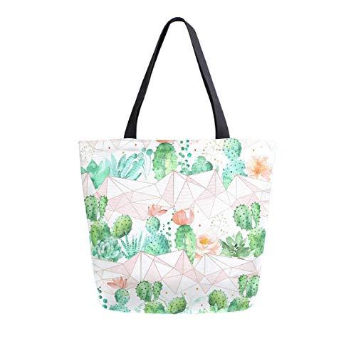 Bolsa de lona geométrica de cactus en oro rosa para mujeres, viajes, trabajo, compras, compras, asa superior, bolsos grandes, reutilizables, bolsas de hombro de algodón