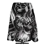ANGERT& Professional Salon Cape See Hear Speak No Evil Skeletons Skulls Cut Hair Cutting Cape Dyeing Hairdresser Apron Haircut Barber Gown for Men Women Adults 55 X 66 in