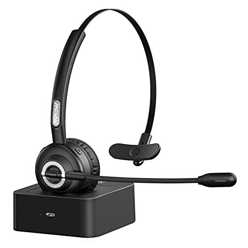 Mpow TH1 Trucker Bluetooth Headsets,Single Ear Wireless Headphones with Noise Canceling Microphone for Cell Phone,PC,Call Center, On Ear Design with Charging Base,17 Hours Talking Time