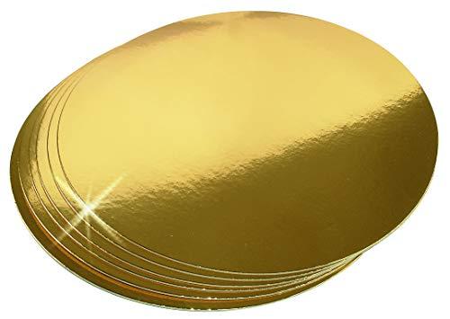 10er Set Kuchen Torten-Unterlage Pappe gold | Tortenplatten Karton rund 26 cm einweg | cake box board cakeboard | Backzubehör Goldkarton Torten-Unterlagen Tortenplatte Kuchenplatte