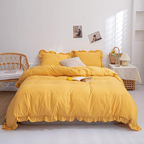 Yellow Bedding Yellow Ruffle Duvet Cover Set Solid Ruffled Fringe Design Soft Luxury Ginger Yellow Bedding Sets Queen 1 Ruffled Duvet Cover 2 Pillow Shams (Queen, Ginger Yellow)