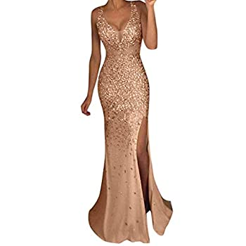 TRENDINAO Evening Dress for Women Party Elegant Bodycon Split Maxi Dresses Ladies Gold Sequined Formal Occasion Dress