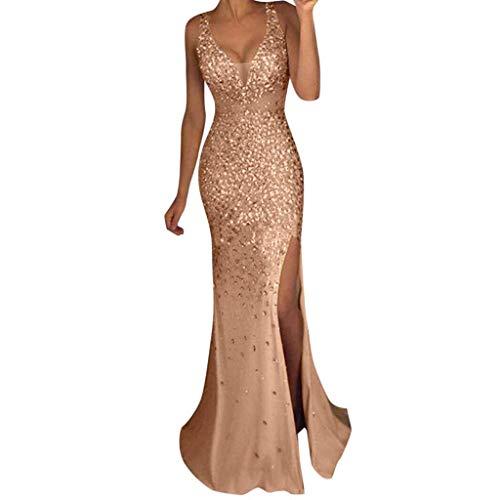 SMILEQ Vestido de lentejuelas para mujer, vestido de baile de graduación, sensual, dorado, para dama de honor, cuello en V, largo, Mujer, dorado, medium