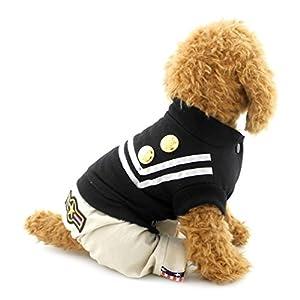 Smalllee _ Lucky _ Ranger Rayures Petit Chien JumpSuit Sailor uniforme Bleu marine tenues Chihuahua Vêtements Doggie Chemise Naval policier Survêtement vêtement pour animal domestique