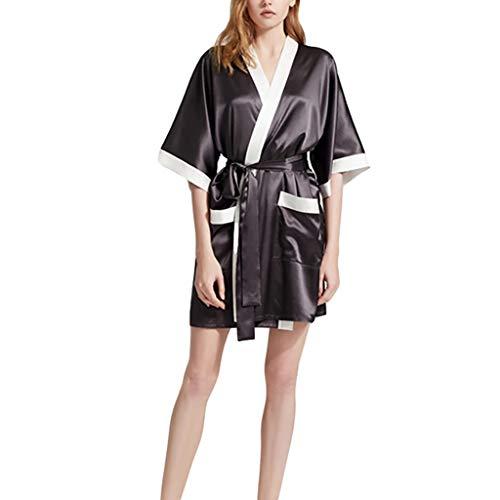Ropa de dormir sexy de seda para mujer, bata de satén de lujo, bata kimono Peignoir Lounge Lounge (color: negro, talla: mediano)