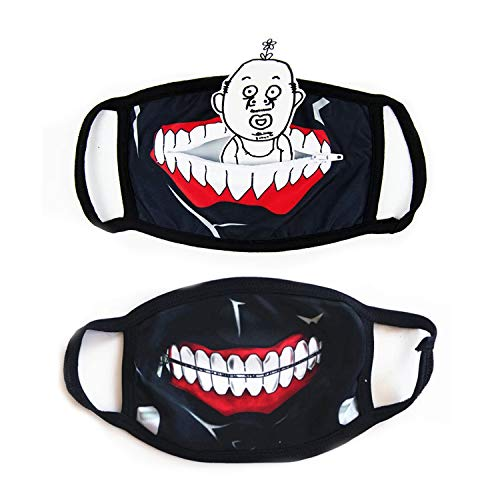 Tokyo Ghoul Kaneki Anime Halloween Face Props, Novelty Reusable Cosplay Cool Props Accessories for Boy Girl (2 Pack)