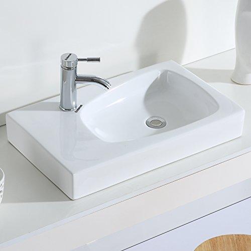 Eridanus, Serie Quentin, Aufsatzwaschbecken, Handwaschbecken, Rechteckig Aufsatzwaschtisch, 60 cm breit