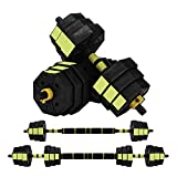 ZYOMY Weight Dumbbells Set, Dumbbells Barbell 2 in 1, Adjustable Weight to 44Lbs, Fitness Dumbbells Set for Men Women Home Gym Workout Exercise Training Equipment with Connecting Rod