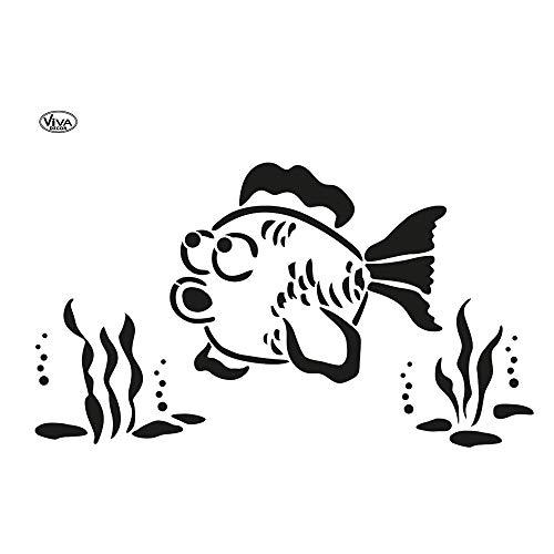 Viva Decor®️ Blob Paint Universal-Schablone (Fisch, DIN A3) Zeichenschablonen/Dots Schablone - Painting Tools für Blob Painting - Schablonen Made in Germany