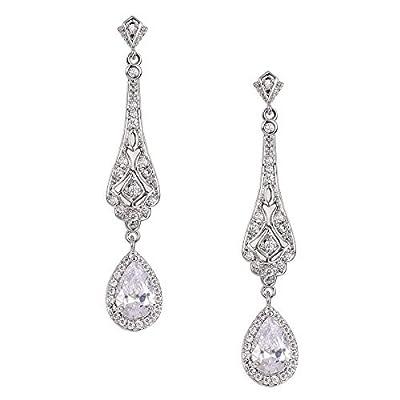 SWEETV Silver Slender Teardrop Cubic Zirconia Vintage Dangle Earrings Chandelier- Bridal Wedding Jewelry Style for Women Brides,Bridesmaids