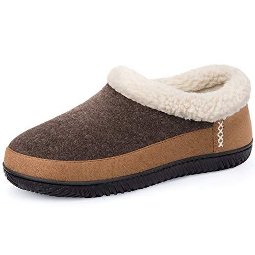 ULTRAIDEAS Men's Warm Memory Foam Slippers with Wool-Like Collar & Polar Fleece Lining, Suede House Shoes Indoor/Outdoor (Medium, 10 US, Coffee)