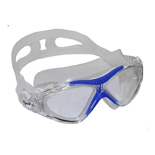 Tyron Máscara de natación para niños, gafas de natación para niños y niñas, entrenamiento y competición, revestimiento antivaho, protección UV, 100% silicona (azul)