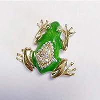 BAJIEブローチかわいいカエルのブローチラインストーンエナメルブローチスカーフバックルアクセサリー