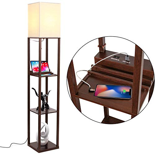Brightech Maxwell Charger - Shelf Floor Lamp with USB Charging Ports & Electric Outlet - Tall & Narrow Tower Nightstand for Bedroom - Modern, Asian End Table with Light Attached - Havana Brown