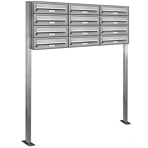 AL Briefkastensysteme 12er Edelstahl Standbriefkasten rostfrei als 12 Fach Briefkastenanlage DIN A4 in Postkasten Briefkasten Design modern